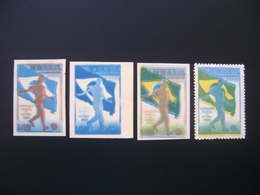 BRAZIL - WORLD CUP OF SOCCER 1950, 4 NEW SEALS WITH VARIETIES A NORMAL SEAL WITH YELLOW COLOR SHIFTED THREE COLORS - Fußball-Weltmeisterschaft