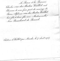 Mariage 1907 Irène Bosschaert De Bouwel & Alphonse Van Der Straten Waillet MARCHE CHâteau De Bouwel Anvers Grobbendonk - Mariage
