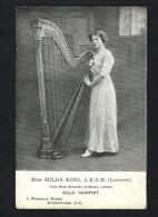 Postal Assinado Pela Harpista MISS HILDA KING. Old Postcard Hand Signed MUSICIAN Lady HARPIST Portugal - Porto