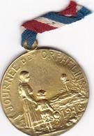 Médaillette En Métal Sur Les Journées 1914 / 1918 (Canon De 75, Orphelins De Guerre, Régions Libérées, Etc) - 1914-18
