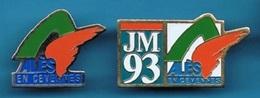 2 PIN'S //   ** J.M. 93 / JEUX  MÉDITERRANÉEN // ALÈS En CÉVENNES / OCCITANIE ** . (COJM93) - Badges