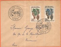 FRANCIA - France - 1957 - 20 + 35 Europa Cept - FDC - Viaggiata Da Paris Per Vincennes - Europa-CEPT