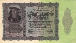 Fünfzigtausend Mark Reichsbanknote VF/F (III) - [ 3] 1918-1933 : Repubblica  Di Weimar