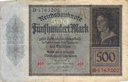 500 Mark Reichsbanknote VG/G (IV) - [ 3] 1918-1933 : República De Weimar