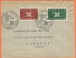 FRANCIA - France - 1963 - 0,25 + 0,50 Europa Cept - FDC - Viaggiata Da Paris Per Vincennes - Europa-CEPT
