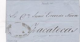 1866 PRECURSEUR ZACATENCA CIRCULATED, FULL CONTENT INSIDE. MEXICO - BLEUP - Mexique