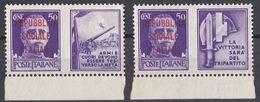REPUBBLICA SOCIALE ITALIANA - 1944 - 2 Valori Nuovi Senza Gomma, Uno Di Seconda Scelta. - 4. 1944-45 República Social