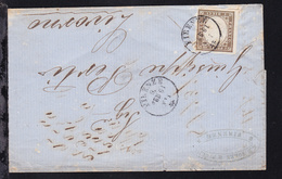 König Viktor Emanuell II 10 Cmi Auf Firmenbrief (G.B. Forre & Riglio, Firenze)  - Sardinia