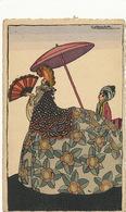 Art Deco Pochoir Signée Denise Millon Couleurs Belle Femme Orientale - Other Illustrators