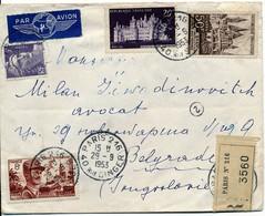 TARIF 1953 RECOMMANDE AVION => YOUGOSLAVIE TARIF 83 FRANCS V° ARRIVEE BELGRADE 01/10/53 - Marcophilie (Lettres)