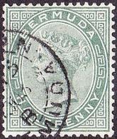 BERMUDA 1892 QV 1d Dull Green SG21 Used - Bermuda