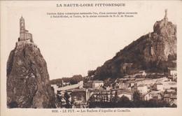 43----LE PUY--les Rochers D'aiguilhe Et Corneille--la Haute-loire Pittoresque---voir 2 Scans - Le Puy En Velay