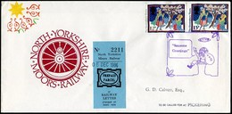 GB UK 1986 North Yorkshire Moors Railway NYMR Train Wheel Christmas Santa Cover Parcel / Letter Fee Stamp Great Britain - Trains