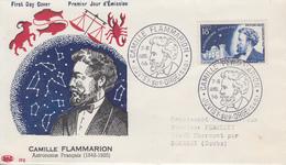 Enveloppe  FDC  1er  Jour   FRANCE    Camille  FLAMMARION     JUVISY  SUR  ORGE    1956 - FDC