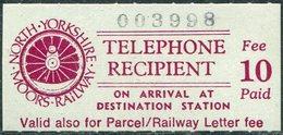 GB UK 1985 North Yorkshire Moors Railway NYMR 10p Fee TELEPHONE Stamp Train Wheel Eisenbahn Chemin De Fer Great Britain - Trains