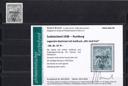 Sudetenland: MiNr. 47, * Rumburg, Legionäre Bachmac - Sudètes