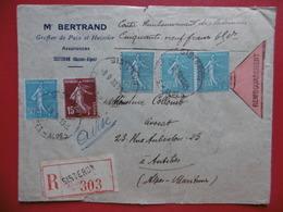 LETTRE RECOMMANDE REMBOURSEMENT CACHET SISTERON TIMBRES SEMEUSE 1938 - Poststempel (Briefe)