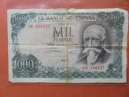 ESPAGNE 1000 PESETAS 1971 CIRCULER - [ 3] 1936-1975 : Regency Of Franco