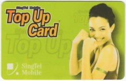 SINGAPORE B-210 Prepaid SingTel - People, Woman - Used - Singapore