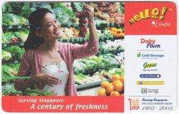 SINGAPORE B-214 Prepaid SingTel - Food, Vegetable - Used - Singapore