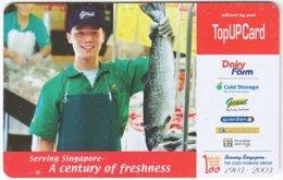 SINGAPORE B-215 Prepaid SingTel - Food, Fish - Used - Singapore