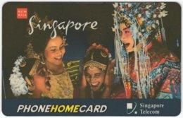 SINGAPORE B-258 Prepaid SingTel - People, Traditinal Wear - Used - Singapore