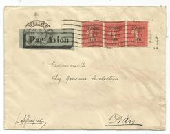 SEMEUSE 50C BIT BANDE DE 3 LETTRE AVION MONTPELLIER II.V.1930 POUR ALGERIE - 1903-60 Semeuse Lignée