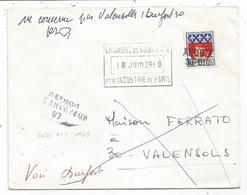 GREVE 1968 BLASON 30C PARIS LETTRE COVER CHAMBRE DE COMMERCE 1 JUIN 1968 + GRIFFE ANDUZE 30.010+ RETOUR 97 GARD - Marcophilie (Lettres)