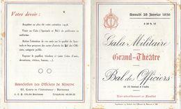 TICKET INVITATION GALA MILITAIRE GRAND THÉÂTRE BAL DES OFFICIERS 28/01/1956 A BORDEAUX GIRONDE + BADGE - Tickets - Entradas