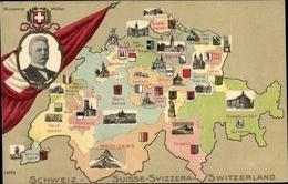 Blason Landkarten Cp Schweiz, Kantone, Bundesrat Müller, Genf, Wallis, Graubünden, Tessin, Glarus - BE Berne