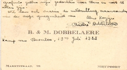 Visitekaartje - Carte Visite - B & M Dobbelaere - Nieuwpoort - Kamp Van Beverlo 1933 - Cartes De Visite