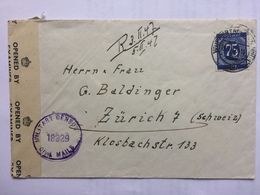 GERMANY Allied Occupation 1947 Cover Wuppertal To Zurich Switzerland With Censor Tape And Cachet - Zone AAS
