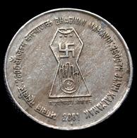 India 5 Rupees 2001. 2600th Ann. Birth Bhagwan Mahavir Janma Kalyanak Coin Km304 - India