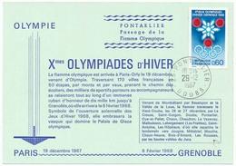 CPSM 10,5 X 15 Xèmes Jeux Olympiques D'Hiver De GRENOBLE 1968 Passage De La Flamme Olympique à Pontarlier Doubs Le * - Pontarlier