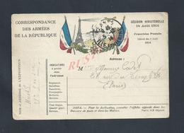 MILITARIA CARTE EN FRANCHISE MILITAIRE ILLUSTRÉE DRAPEAU TOUR EIFFEL OB RENNES X PARIS MAURICE CADET : - Postmark Collection (Covers)