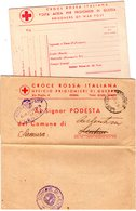 ITALIA   Storia Postale Prigionieri Di Guerra  Lotto 2 Pezzi Croce Rossa - 1900-44 Vittorio Emanuele III