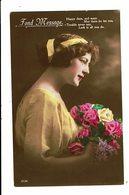 CPA - Carte Postale - Royaume Uni-Fond Message Avec Une Jeune Femme De Profil -VM3937 - Women