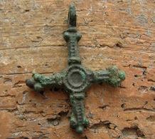 Ancient Vikings Bronze Cross 10-13 Centuries - Archaeology