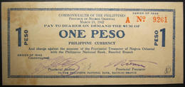 Philippino World War II Guerilla 1 Peso Negros Oriental Currency Banknote 1942 - Philippines