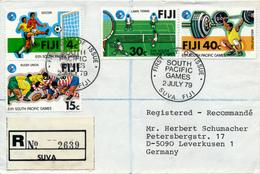 FIJI - SUVA , 1979 , 6. Pacific Games , R-Brief Nach Leverkusen - Fiji (1970-...)