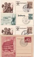 ALLEMAGNE   ENTIER POSTAL/GANZSACHE/POSTAL STATIONERY LOT DE 4 CARTES ILLUSTREES - Allemagne