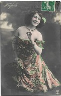 Young Woman Beauty, Belle Epoque Show Girl Farfalla, Beautiful Off Shoulder Dress,1900s Antique Real Photo Postcard RPPC - Mujeres