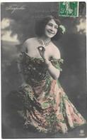 Young Woman Beauty, Belle Epoque Show Girl Farfalla, Beautiful Off Shoulder Dress,1900s Antique Real Photo Postcard RPPC - Femmes