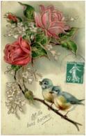 Mille Bons Baisers - Roses, Mésanges - Carte Gaufrée - Autres