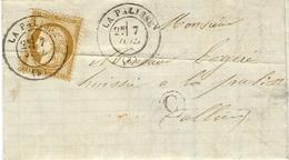 Juillet 1876- Lettre De LA PALISSE ( Allier ) Cad T17 Sur Le T P  + C Boite Rurale De Servilly - Marcophilie (Lettres)