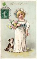 Bonne Année - Fillette Avec Son Chien - Carte Gaufrée - Nouvel An