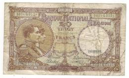Belgium 20 Fr. 1941, Used, See Scan. - [ 2] 1831-... : Belgian Kingdom