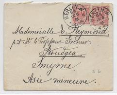 1891 - ENVELOPPE PETIT FORMAT De BERLIN => BOUDGEA SMYRNE (TURQUIE) - Deutschland