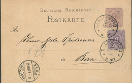 Ganzsache 1879 Saargemünd Postkarte Nach Bern/Schweiz Gleichfarbige Ergänzungsfrankatur Rückseite Hässlich  (BLAU 013) - Germany
