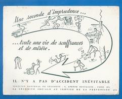 BUVARD - SÉCURITÉ SOCIALE AU SERVICE DE LA PRÉVENTION - Seconde D'imprudence Et Vie De Souffrances...ILLUSTRATION - Buvards, Protège-cahiers Illustrés